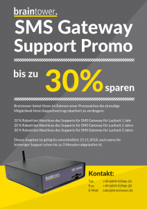 Braintower SMS Gateway bis zu 30% sparen Support